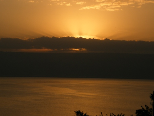 Sunrise over Lake Galilee and the Golan Heights