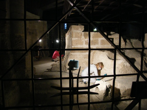 Archaeologists excavating the Grotto of Mary.