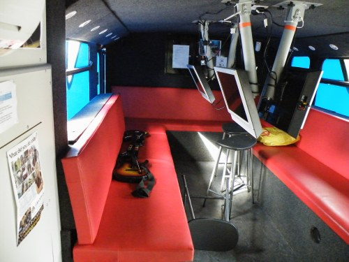 Games console area at the back of the bottom deck