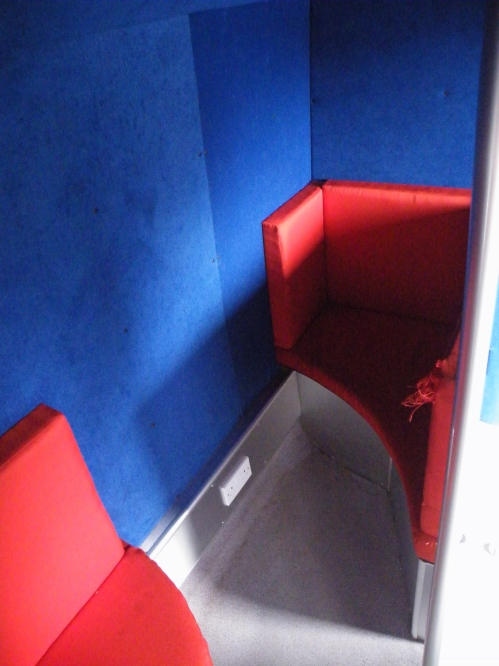 The 1-1 booth, used if a young person wants to speak to a member of the bus staff