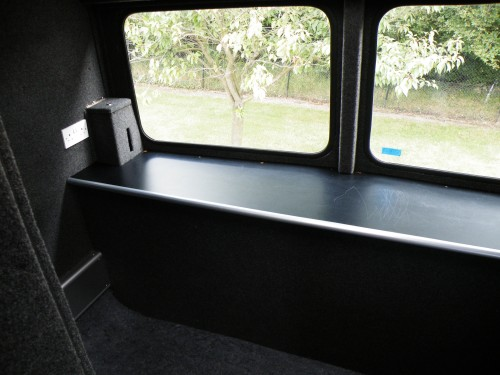 The soundproof music room at the front of the bus